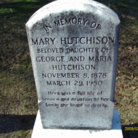 Mary Hutchison Headstone