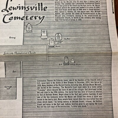 Lewinsville Cemetery Map